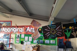 Lions Class have been painting in the style aboriginal art.